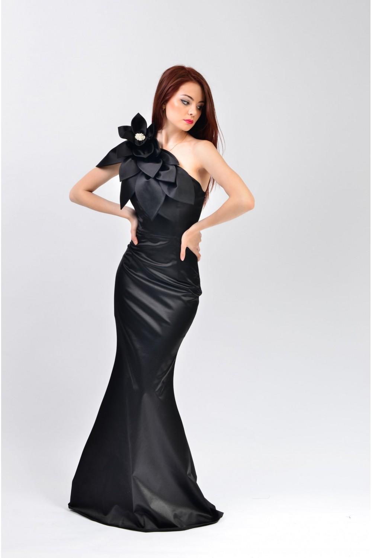 Rochie de seara lunga stil sirena cu floare Izaura 3